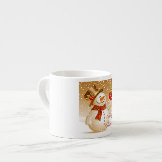 Lovely Gold Christmas Snowman 6 Oz Ceramic Espresso Cup