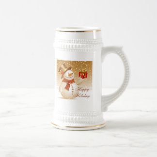 Lovely Gold Christmas Snowman Coffee Mugs