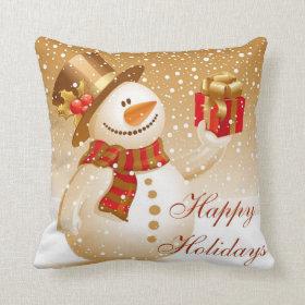 Lovely Gold Christmas Snowman Pillow
