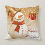 Lovely Gold Christmas Snowman Throw Pillows