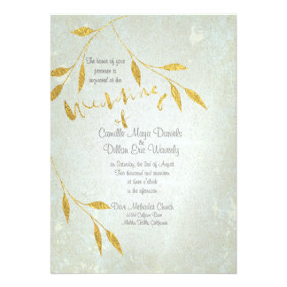 Lovely Gold Foil Gold-effect Wedding Invitation Card