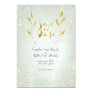 Lovely Gold Foil Gold Leaf-effect Save-The-Date Card