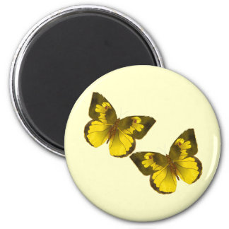 Lovely Golden Butterflies 2 Inch Round Magnet