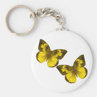 Lovely Golden Butterflies Basic Round Button Keychain