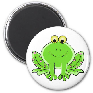 Lovely Green Frog with Hearts 2 Inch Round Magnet
