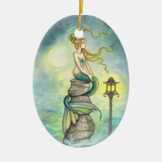 Lovely Green Mermaid by Molly Harrison Double-Sided Oval Ceramic Christmas Ornament