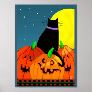 Lovely Halloween Black Cat Pumpkin and Full Moon Print