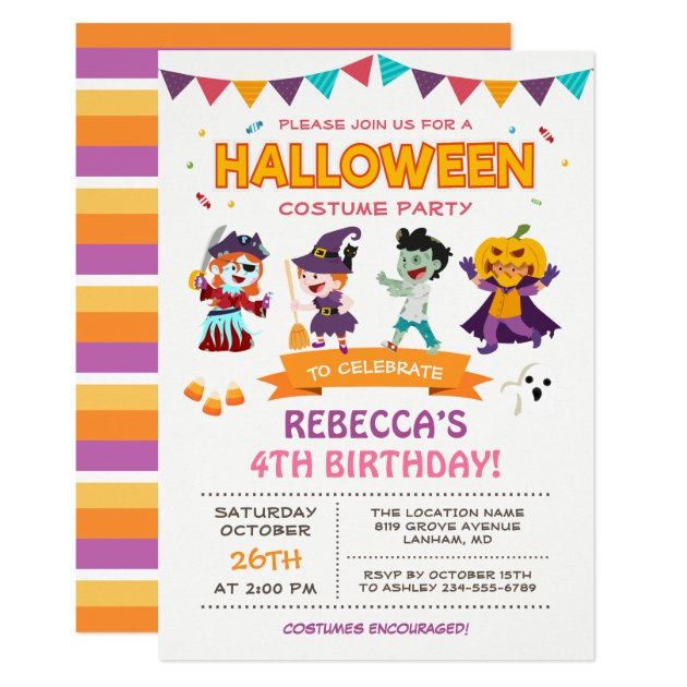 Lovely Halloween Kids Costume Party Invitation (front side)