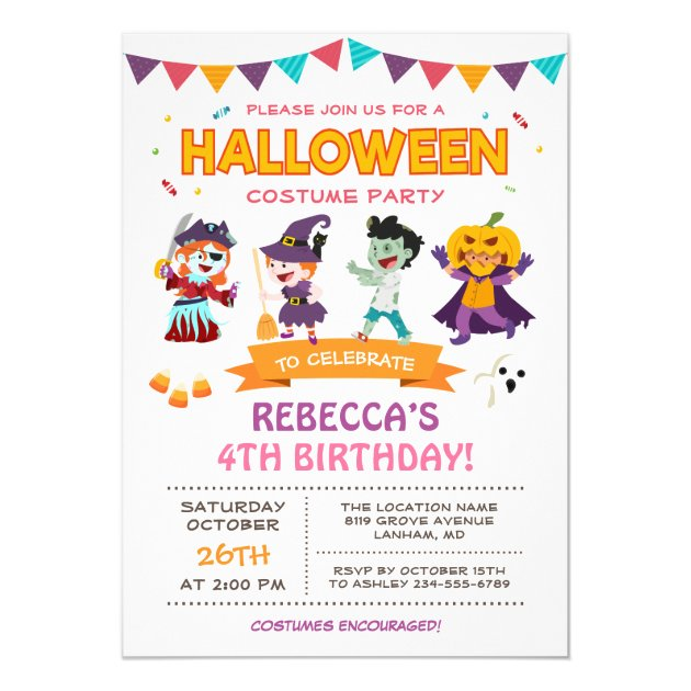 Lovely Halloween Kids Costume Party Invitation (back side)