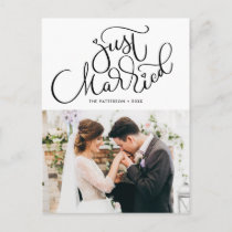 Lovely Hand Lettered Just Married Photo Wedding Announcement Postcard