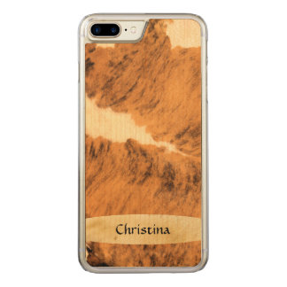 Lovely Handmade Texas Long Horn Cowhide Print Carved iPhone 8 Plus/7 Plus Case