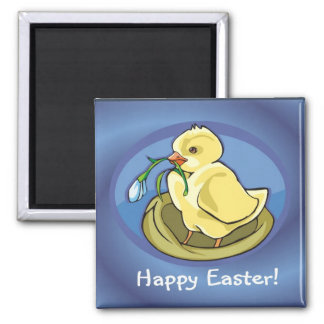 Lovely Happy Easter Chick with Flower Magnet