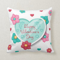Lovely Happy Valentine's Day Floral Throw Pillow