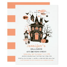 Lovely Haunted House Kids Birthday Halloween Invit Invitation