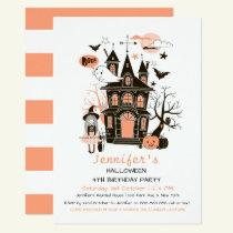 Lovely Haunted House Kids Birthday Halloween Invit Invitation