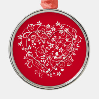 Lovely heart on red metal ornament