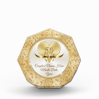 Lovely Heart Personalized 50th Anniversary Present Acrylic Award