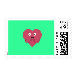 lovely heart with face postage