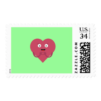 lovely heart with face postage stamp
