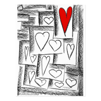 lovely hearts post card