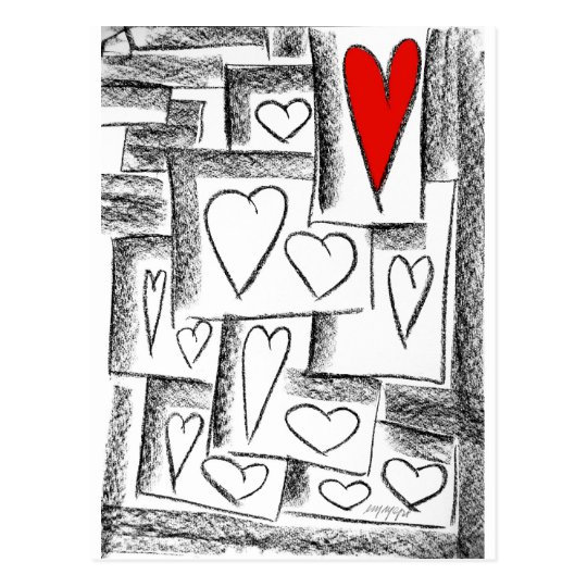 lovely hearts postcard