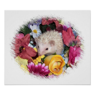 Lovely hedgehog wreathed in flowers. poster