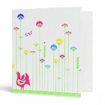 Lovely hen and flowers Binder