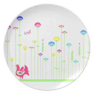 Lovely hen and flowers  Plate