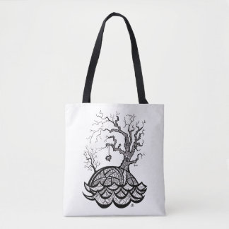 Lovely Hill Intricate Heart Tree illustration Tote Bag
