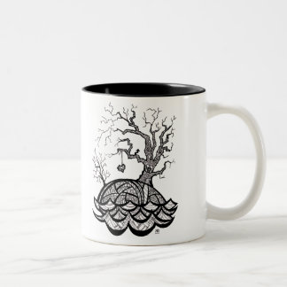 Lovely Hill Intricate Heart Tree illustration Two-Tone Coffee Mug