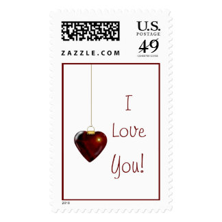 Lovely Holiday Ornament Red Heart I Love You Stamps
