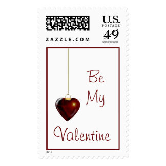 Lovely Holiday Ornament Red Heart Postage Stamps