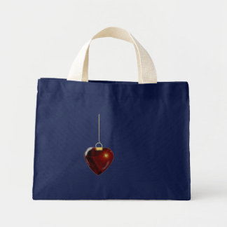 Lovely Holiday Ornament Red Heart Small Navy Blue Mini Tote Bag