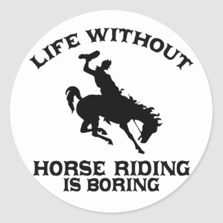 Lovely Horse riding DESIGNS Classic Round Sticker