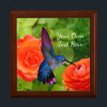 """Lovely Hummingbird Gift Box<br><div class=""""desc"""">Lovely photo of a hummingbird feeding is featured on this beautiful wooden gift box. Your choice of four different box colors and you can enter your own text or leave text off. Use to store jewelry, coins and other keepsakes or give as a gift for birthdays, graduations, Mother's Day, Christmas...</div>"""