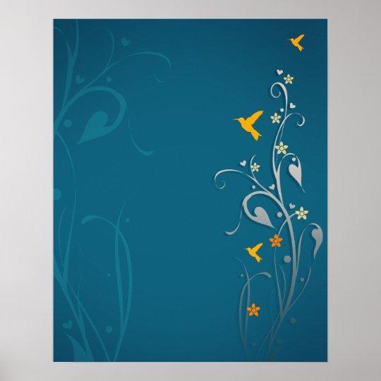 lovely hummingbirds and swirl flower design poster