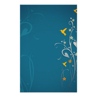 lovely hummingbirds and swirl flower design customized stationery