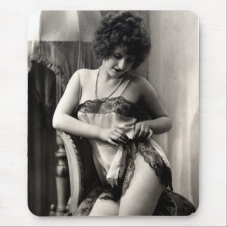 Lovely in Lace Sexy Lady Lingerie Vintage Pin-Up Mouse Pad