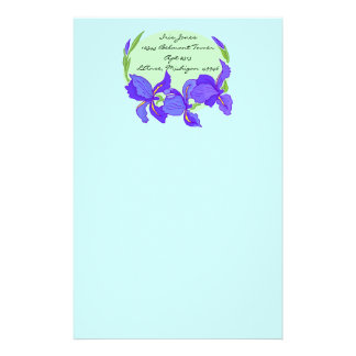 Lovely Indigo Blue Purple Iris on Blue Stationery