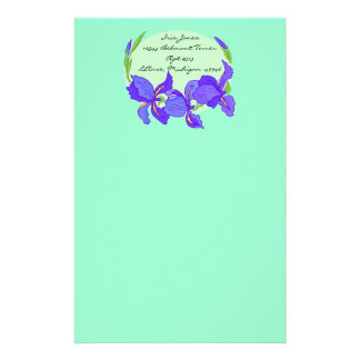Lovely Indigo Blue Purple Iris on mint Stationery