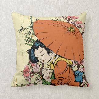lovely japanese geisha vector art throw pillow