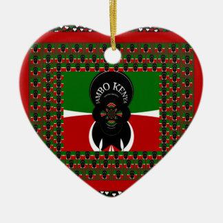 Lovely Kenyan Hearts flag Ceramic Ornament