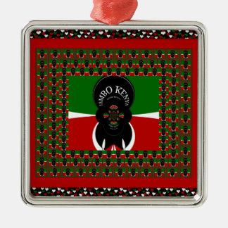 Lovely Kenyan Hearts flag Metal Ornament