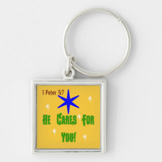 Lovely key chain with he cares for you verse!