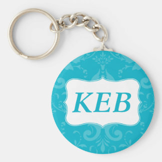 Lovely Labels Blue Damask Custom Initials Basic Round Button Keychain