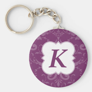 Lovely Labels Purple Damask Custom Initial Basic Round Button Keychain