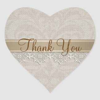 Lovely Lace & Burlap Chic Thank You Heart Sticker