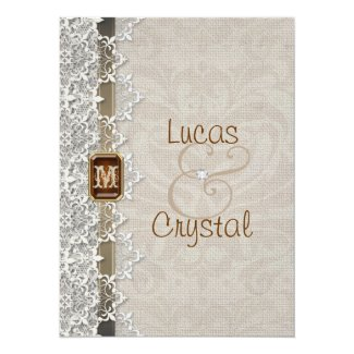 "Lovely Lace & Burlap Chic Wedding Invitation 5.5"" X 7.5"" Invitation Card"