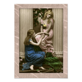 Lovely ladies beside columns Victorian poster