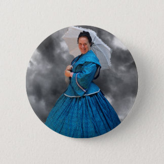Lovely Lady in blue living in the 1860's Button